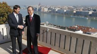 Президент Венгрии и Генеральный секретарь ООН в Будапеште на берегу Дуная