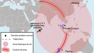 Mapa das buscas do voo MH370.