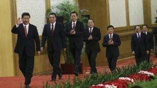 China's new Politburo Standing Committee members (from L to R) Xi Jinping, Li Keqiang, Zhang Dejiang, Yu Zhengsheng, Liu Yunshan, Wang Qishan and Zhang Gaoli