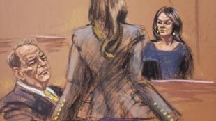 Croquis de l'audience du 23 janvier 2020 durant laquelle l'actrice Annabella Sciorra a pu témoigner face à Harvey Weinstein.