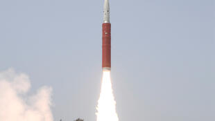 A Ballistic Missile Defence Interceptor takes off to hit one of India's satellites in the first such test, from the Dr. A.P.J. Abdul Kalam Island, in the eastern state of Odisha, India, 27 March, 2019.