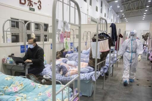 Malade du nouveau coronavirus installé le 17 février 2020 dans un centre de congrès de Wuhan, transformé en hôpital par les autorités chinoises