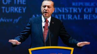 O  Presidente turco Recep Tayyp Erdogan. 12 de Outubro de 2016