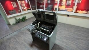 CIA Telex machine as exhibit in former US embassy in Tehran