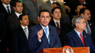 Jimmy Morales anunciando su decisión de cerrar la CICIG, el pasado 7 de enero de 2019 en Ciudad de Guatemala.