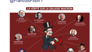 Caricatura do candidato Emmanuel Macron, em tuíte do partido Os Republicanos em 10 de março de 2017