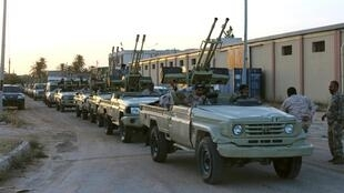 Military vehicles of members of the Libyan internationally recognised government forces head out from Misrata to the front line in Tripoli, Misrata, Libya May 10, 2019.
