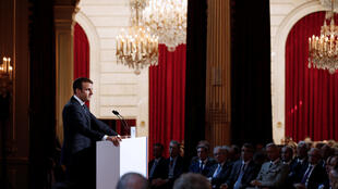 French President Emmanuel Macron addresses a speech during the annual gathering of French Ambassadors at the Elysee Palace in Paris, France, August 29, 2017.