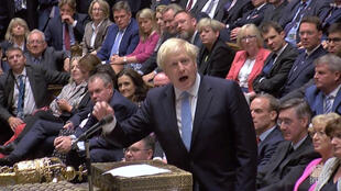 Britain's Prime Minister Boris Johnson speaks after Britain's parliament voted on whether to hold an early general election, in Parliament in London, Britain, September 10, 2019, in this still image taken from Parliament TV footage.