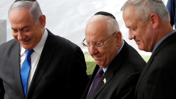 O primeiro-ministro israelense Benjamin Netanyahu, o presidente israelense Reuven Rivlin e Benny Gantz, líder do partido Azul e Branco. 19/09/19