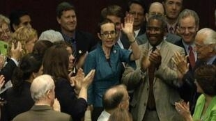 the House floorDemocrat Gabrielle Giffords appeared in Congress for the first time since being shot in January