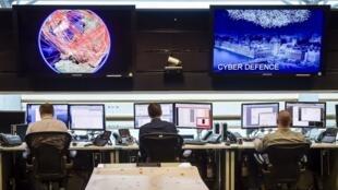 Phòng theo dõi thông tin, Trung Tâm Truyền Thông Chính Phủ, một cơ quan tình báo Anh Quốc, Cheltenham. (Ảnh chụp ngày 17/11/2015)