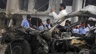 The site of a suicide bomb attack in Karachi