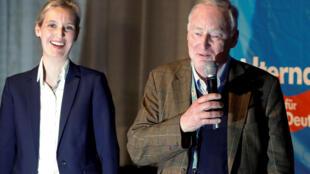 Alice Weidel (G) et Alexander Gauland ont été choisis par l'AfD pour mener la campagne des élections générales de septembre en Allemagne.