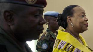 La présidente de la transition centrafricaine Catherine Samba-Panza, le 27 décembre 2015 à Bangui.