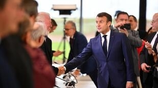 French President Emmanuel Macron attends a meeting of the strategic committee for the Seine-Nord Europe Canal in Nesle, northern France, on November 22, 2019.