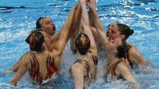 L'équipe russe lors des Championnats européens - Natation synchronisée 2018, à Glasgow, le 4 août 2018.