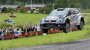 Jari-Matti Latvala in action at the Rally of Finland.