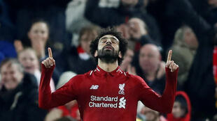 Mohamed Salah fête l'unique but de Liverpool contre Naples (1-0) en Ligue des champions le 11 décembre 2018.