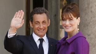 French President Nicolas Sarkozy and his wife Carla Bruni-Sarkozy at the Elysee Palace.