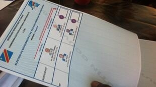 Un bulletin de vote, lors d'un scrutin en RDC.