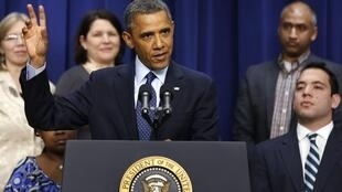 O presidente americano Barack Obama durante seu pronunciamento sobre o acordo contra o abismo fiscal nos Estados Unidos, nesta segunda-feira, na Casa Branca.