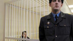 Russian national Ivan Gaponov appears in court in Minsk.
