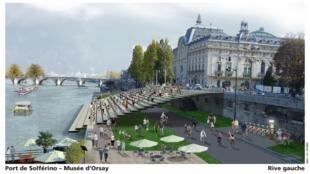 Projeto da Rive Gauche quando a via se tornar exclusiva para pedestres e bicicletas.
