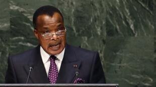 Le chef de l'Etat congolais Denis Sassou-Nguesso, ici à l'Assemblée générale des Nations unies en septembre 2014, sera contraint par la limite d'âge et la limite de mandats pour prétendre à un nouveau mandat.