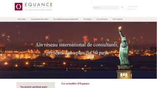 Capture d'écran du site de la société Equance.