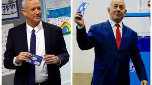 以色列总理、利库德集团领导人内塔尼亚胡及其主要竞选对手,蓝白党领导人甘茨分别参加投票。