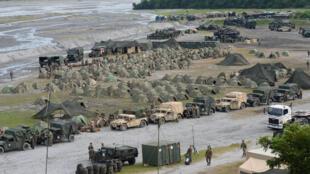 Toàn cảnh khu doanh trại của thủy quân lục chiến Mỹ trong cuộc tập trận bắn đạn thật Mỹ-Philippines ở Capas, tỉnh Tarlac, phía bắc Manila. Ảnh tư liệu chụp ngày 10/10/2016.
