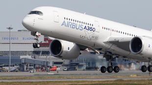 An Airbus A350 takes off at the aircraft builder's headquarters in Colomiers near Toulouse, France, September 27, 2019.