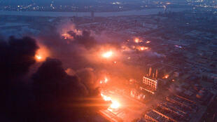 Cảnh vụ nổ nhà máy hóa chất ở Diêm Thành (Yancheng), tỉnh Giang Tô (Jiangsu), ngày 21/03/2019.