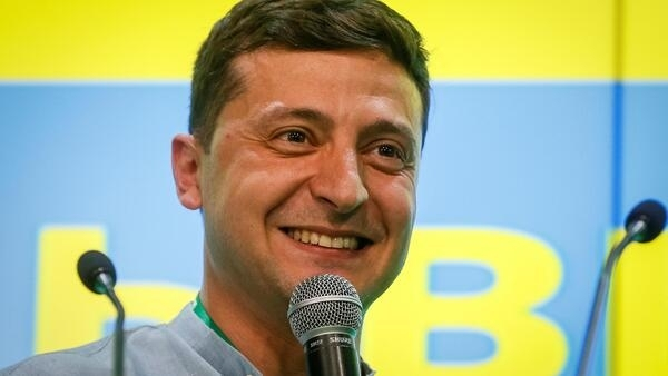 Владимир Зеленский в предвыборном штабе партии «Слуга народа» после оглашения результатов голосования, 21 июля 2019.