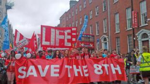 Près de 20 000 personnes défilent à Dublin, le 1er juillet 2017, pour défendre le 8e amendement qui interdit l'avortement en Irlande.