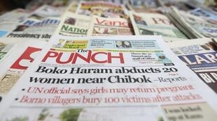 A Nigerian newspaper at a vendor's stand along a road in Ikoyi district in Lagos, 10 June, 2014
