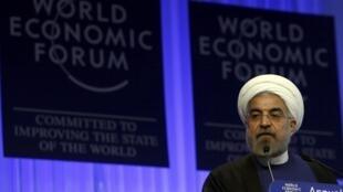 O presidente Hassan Rohani em Davos, nesta quinta-feira