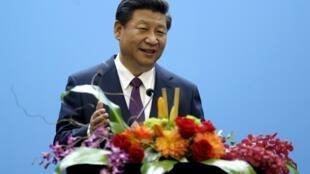 Le président chinois Xi Jinping a fait un discours dans le campus de Microsoft, à Richmond, dans l'Etat de Washington, le 23 septembre 2015.
