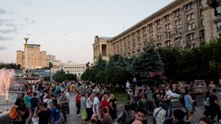 Vue de la place Maïdan, lieu de la révolution de 2014. Cette année marque un profond tournant dans la vie politique et économique du pays, dont l'agriculture est l'un des piliers.