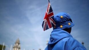 Manifestantes anti-Brexit em frente ao Parlamento de Londres (15/05/19).