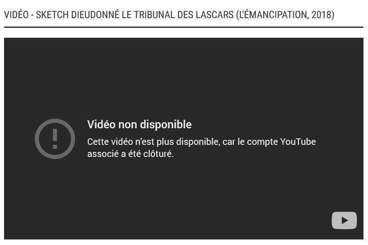 El canal Youtube de Dieudonné fue suspendido.