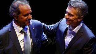 Scioli y Macri antes de su debate, el pasado 15 de noviembre de 2015.