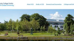 Capture d'écran de l'University College Dublin, un établissement d'enseignement supérieur en Irlande.
