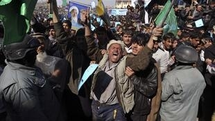 Abdullah Abdullah supporters at a rally in Kabul