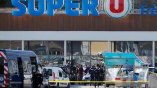 Супермаркет Super U в городе Треб, где произошел захват заложников