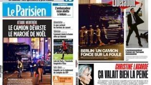 Capa dos jornais Le Parisien e Libération destacam ataque terrorista ocorrido nesta segunda-feira (19) em Berlim.