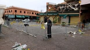 Argana café, Marrakech, after the blast which killed 16 people on 29 April