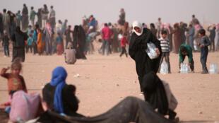 Refugiados iraquianos que fugiram da violência em Mossul e deslocados sírios que fugiram das áreas controladas pelo E.I em Deir al-Zor, perto da fronteira com o Iraque, em Hasaka Governorate 23 de outubro de 2016.