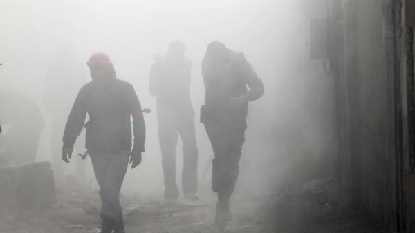 L'Armée syrienne libre après une explosion dans le quartier d'Arbain à Damas.